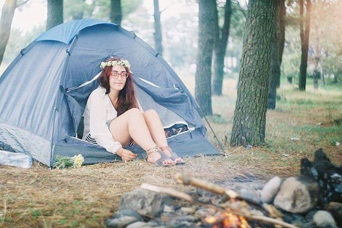Camping Sitting Forest Tent Brown Hair Long Hair Nature Summer Hippie Outdoors Boho Women Flowers Oldcamera Film Photography Zenit