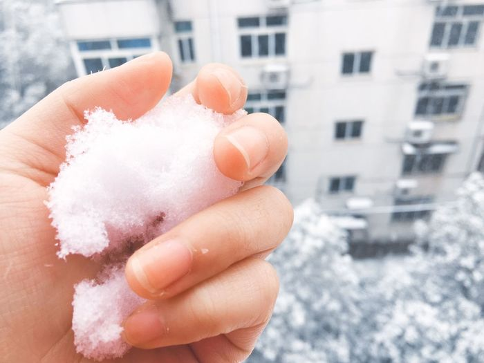 Close-up of cropped hand holding snow