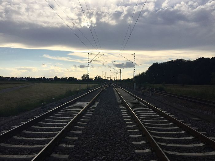 Two Is Better Than One Railway Looking West Railroad Track The Way Forward Straight