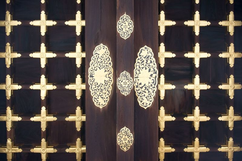 Pattern Door Ornate Gold Colored Wood - Material No People Close-up Outdoors