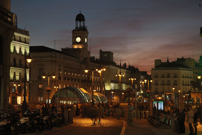 Puerta del Sol in Madrid at night Architecture City City Life Clock Tower International Landmark Outdoors Puerta, Del Spain, Madrid, Tourism, Tourist, Buildings Urban