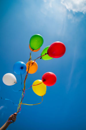 Balloon Blue Celebration Chilling Day Happy Low Angle View Multi Colored Outdoors Sky Sunny Day EyeEmNewHere
