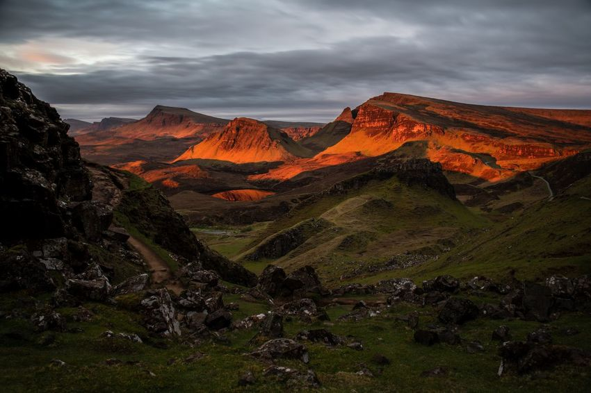 Unbelievable morning. The light was gone after 5 minutes though. EyeEm Best Shots Scotland Sunrise Colors The Great Outdoors - 2018 EyeEm Awards Formation Landscape Mountain Mountain Range Nature Non-urban Scene Outdoors Physical Geography Quiraing Red Color Remote Rock Scenics - Nature Sunrise