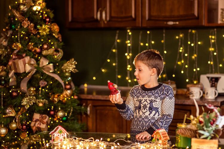 Full length of illuminated christmas tree