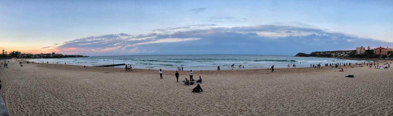 Panoramic view of the Manly beach IPhone Photography Iphonexphotography IPhoneX Manly At Sunset ManlyBeach Manly Beach Sydney Manly Beach Manly  Beach Scenics - Nature Cloud - Sky Beauty In Nature Horizon Over Water Sunset Crowd
