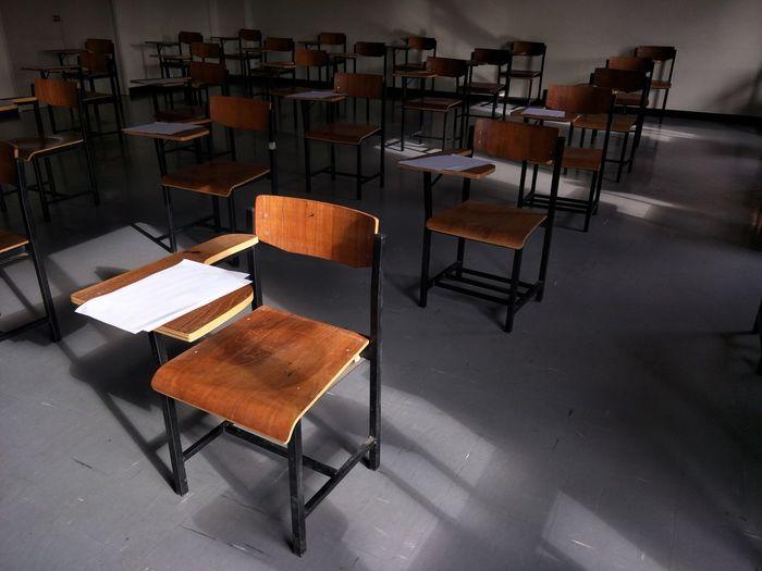 examination Classroom Table Examination Classroom Exam EyeEm Selects Chair Table Seat