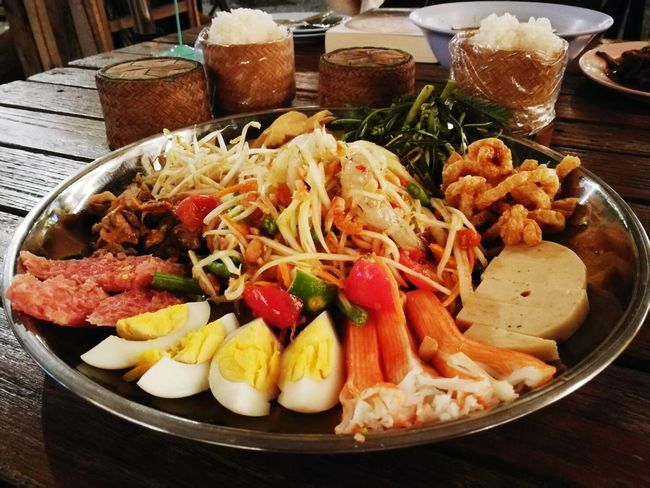 Food And Drink Ready-to-eat Food Plate Indoors  Serving Size Healthy Eating Freshness No People Appetizer Close-up Day ตำถาด