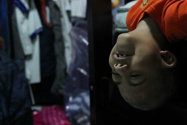 Close-up of boy in store