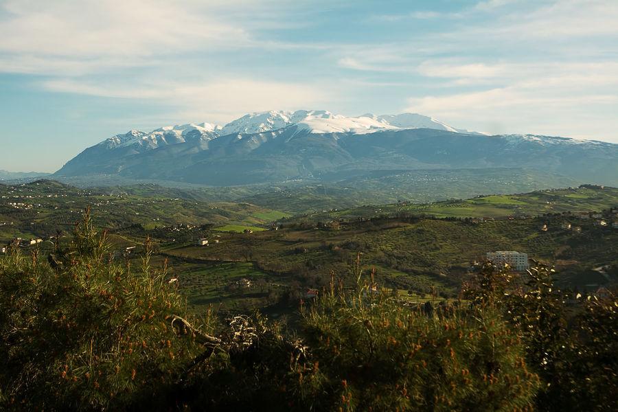 the mountain range of maiella seen from Chieti Abruzzo Chieti Cloud Italy Landmark Maiella Maielletta Majella Majelletta Mountain Mountains Nature Panorama Pretoro Scenic Sky Snow Sunset Valley Winter
