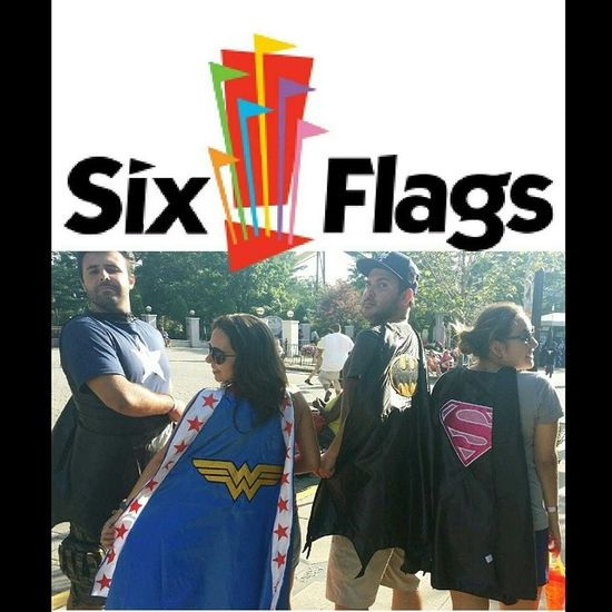 Justice League with a special appearance of Captain America Sixflags Justiceleague