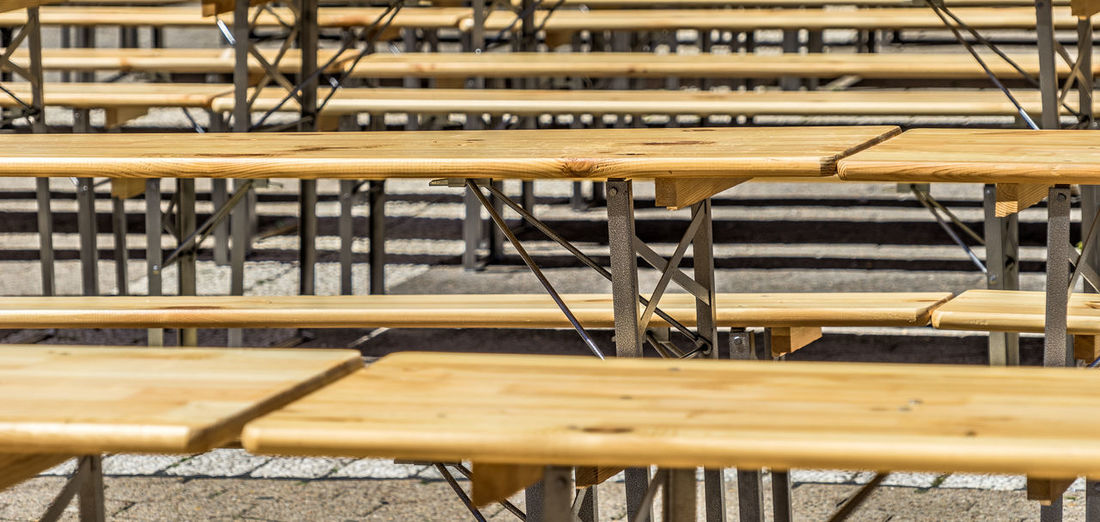 Full frame shot of wooden benches and tables