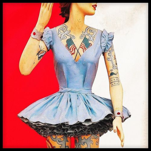 American Flag Tattoo Fairground Attraction Manequin