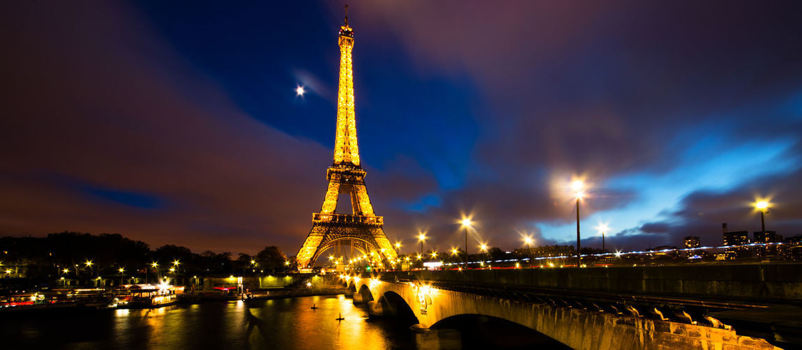 Architecture Arts Culture And Entertainment Building Exterior Built Structure Capital Cities  City Dusk Eiffel Tower Famous Place France International Landmark Long Exposure Paris Sky Tourism Tower Travel Destinations