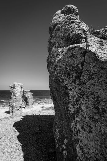 Nordic Light Beach Beauty In Nature Black And White Clear Sky Day Horizon Horizon Over Water Land Langhammars Nature No People Outdoors Rauk Rock Rock - Object Rock Formation Scenics - Nature Sea Sky Solid Stack Rock Tranquil Scene Tranquility Water