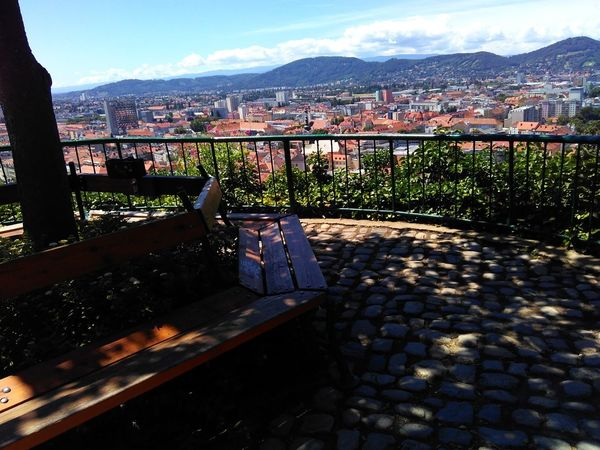 Travael Summer Graz Austria View From The Top Landscape No People Blu Sky Sunny Day Day Sky Mountain Nature Tree Nofilter Architecture Red Roof Roof Town Sunlight Bunch