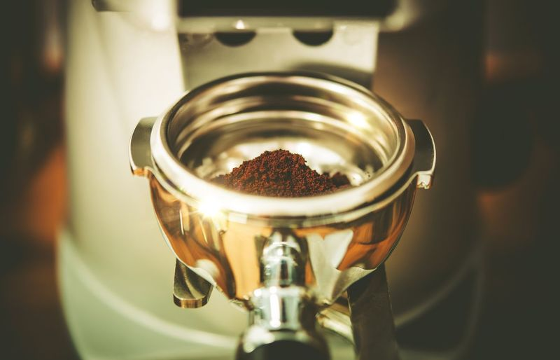 Close-Up Of Coffee In Coffee Maker