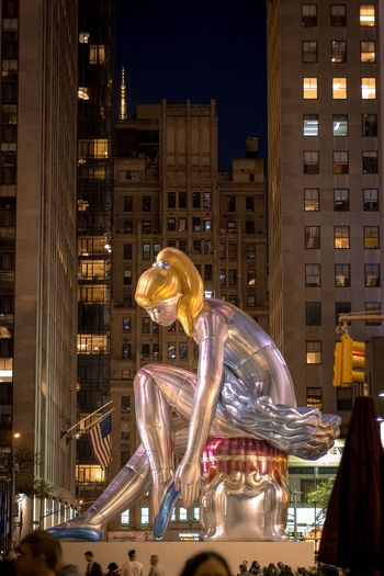 Night Illuminated City Architecture Building Exterior Skyscraper Built Structure Cityscape Arts Culture And Entertainment Futuristic Nightlife Urban Skyline Modern Outdoors No People New York City New York Rockefeller Center Jeff Koons