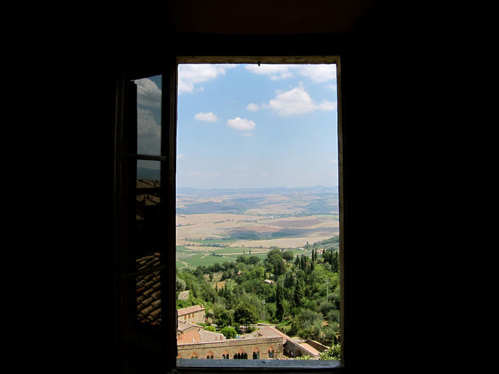 Montalcino. Toscana Architecture Beauty In Nature Cloud - Sky Day Indoors  Landscape Mountain Nature No People Scenics Sky Tree Window
