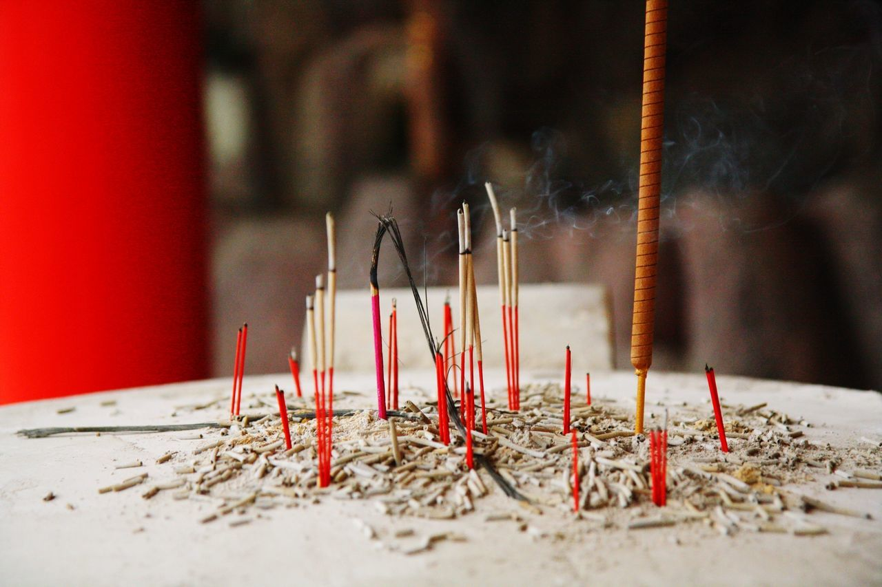 Incense on table in temple