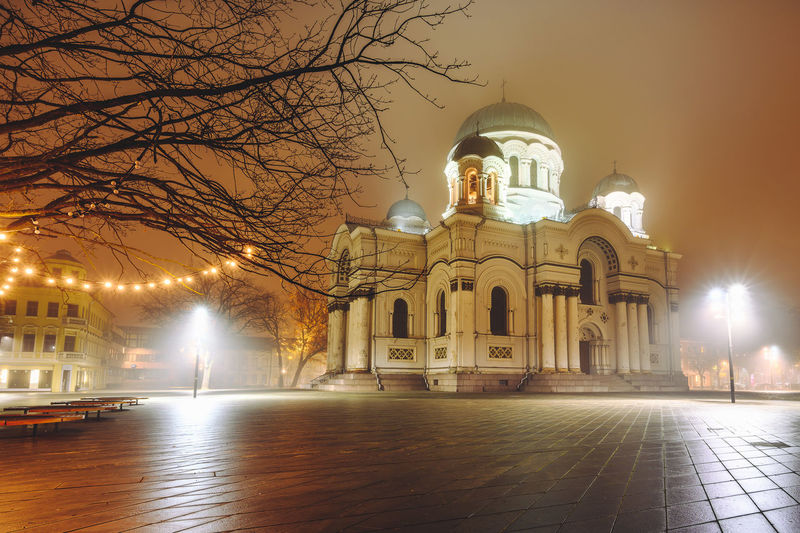 City at night City At Night Nikon Z7 Church Soboras Europe Architecture Night Illuminated Built Structure Building Exterior Religion Belief Spirituality Tree Building Place Of Worship Bare Tree Sky Nature Arch Lighting Equipment The Past History No People Outdoors Courtyard