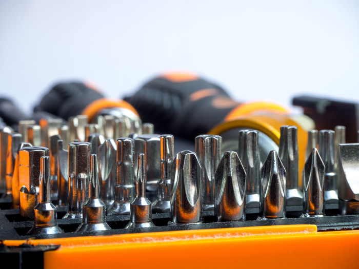 Toolkit of various tools in the box, closeup many type of screwdriver head Box Construction DIY HEAD Industrial Industry Set Work Closeup Drill Equipment Handle Hardware Instrument Maintenance Many Metal Repair Screw Screwdriver Steel Tool Toolkit Various Wrench