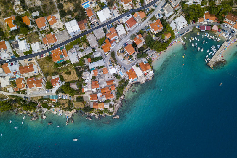 Amazing view of Makarska Riviera in Croatia Water Nature Outdoors Makarska Sea Seascape Coastline Croatia Vacations Drone  Sand Blue Holydays Riviera Emerald Aerial View Wawes Sailing Boat Hrvatska Travel Trip Relaxing