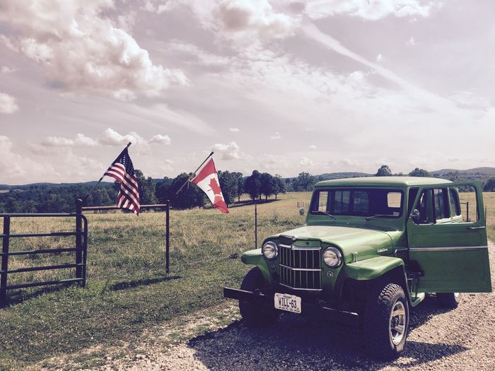 Canada America Willys Jeep Flag Patriotism Day Sky Cloud - Sky No People Outdoors