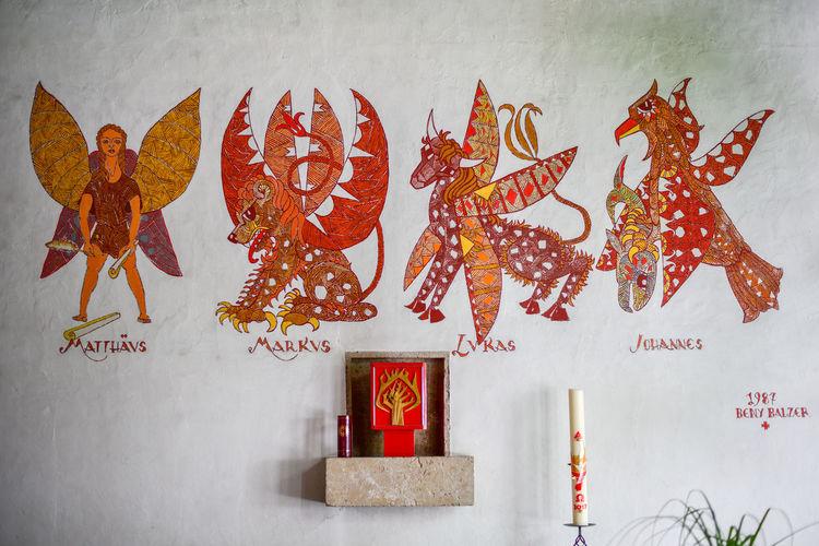 Church Lukas Matthäus Winter Architecture Art And Craft Bergün Chinese Dragon Day Dragon Evangelist Indoors  Johannes Markus Multi Colored No People Red Switzerland