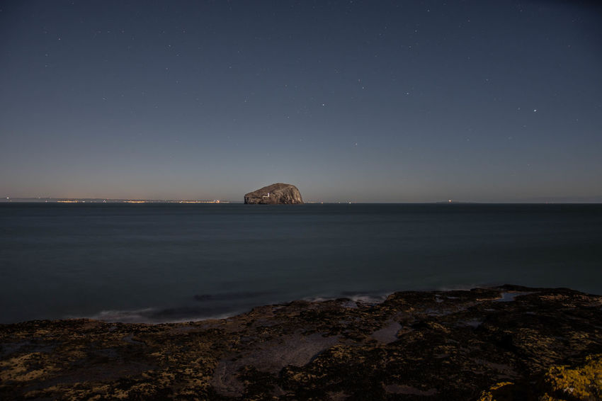 View of the Bass Rock Astronomy Bass Rock Clear Sky EyeEmNewHere Landscape Long Exposure Night No People North Berwick Pauldroberts Sea Seacliff Sky Space And Astronomy Star - Space