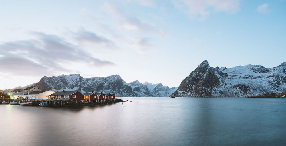Beautiful winter sunset in Lofoten Check out my prints at http://simonmigaj.com/shop/ and visit my IG http://www.instagram.com/simonmigaj for more inspirational photography from around the world. Sky Scenics - Nature Water Cloud - Sky Mountain Beauty In Nature Waterfront Tranquil Scene Tranquility Mountain Range Nature Winter Sea Architecture Cold Temperature Snowcapped Mountain Outdoors No People Reine Hamnøy Lofoten Lofoten Islands Norway Norge Travel