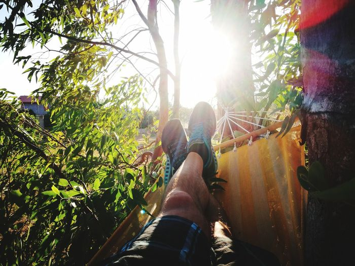 One Person Low Section Human Leg People Personal Perspective Day Sunlight Enjoyment Relaxation Human Body Part Vacations Outdoors Adventure Tree