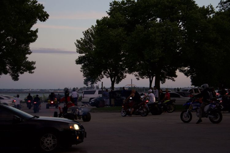Tree Transportation Motorcycle Mode Of Transport Car Riding Outdoors People Sky Adult Day City Biker Lake Michigan