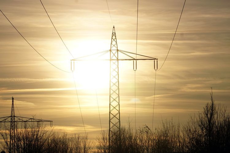 Electricity Pylon Technology Sunset Steel Electricity  Symmetry Fuel And Power Generation Cable Silhouette Industry