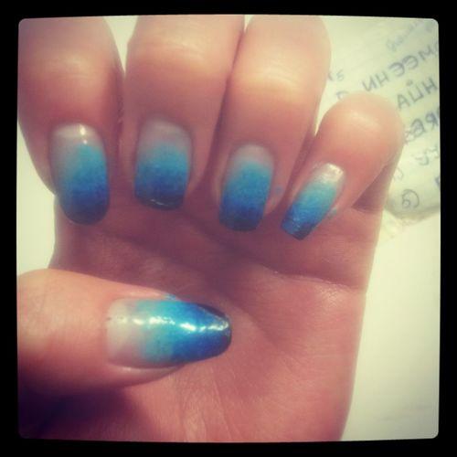 blue sponge., Nail Polish Fashion Nail Nail Art Nailpolish