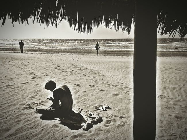 Immersion Immersion Reading A Book Reading On The Beach Reading Beach Blackandwhite Light And Shadow Landscape Camocim Ceará Brazil