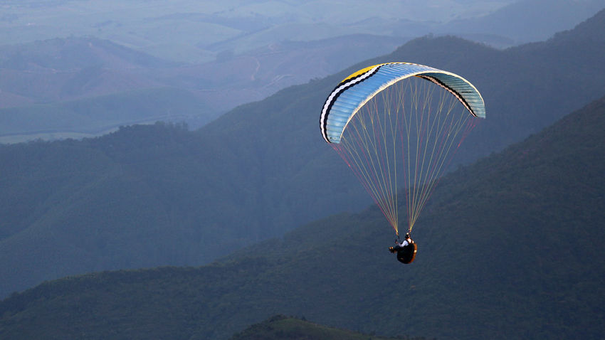 Adventure Beauty In Nature Brazilian Gallery Day Extreme Sports Flying Landscape Leisure Activity Mid-air Mountain Mountain Range Nature One Person Outdoors Parachute Paragliding People Real People Scenics Sky