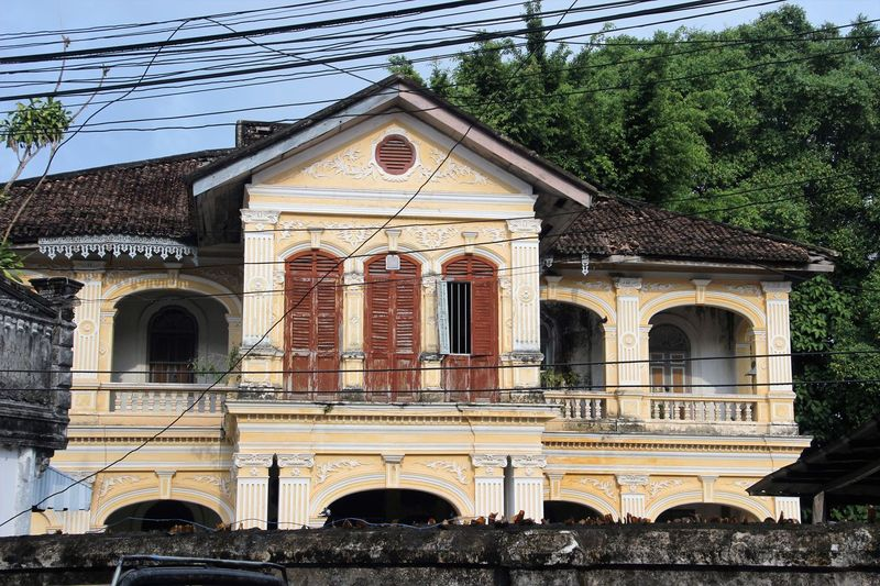 Arch Architecture Building Exterior Built Structure City Clock Day Façade History No People Outdoors Phuket Old Town Sky Travel Destinations Tree