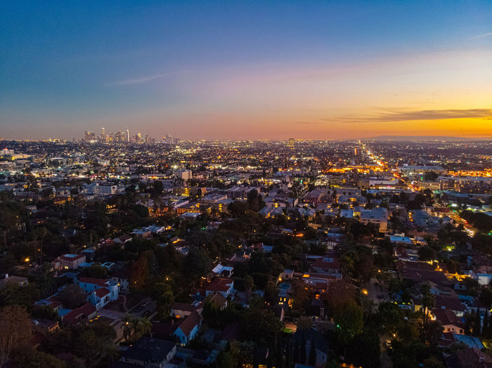 Building Exterior Architecture Cityscape City Built Structure Sky Crowd Building Crowded Illuminated High Angle View Residential District Nature Sunset Night Aerial View City Life Outdoors Dusk Skyscraper TOWNSCAPE Los Angeles, California Hollywood Landscape