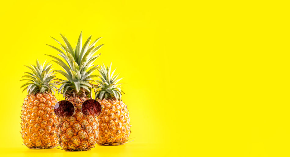 Pineapple Summer Yellow Fruit Creative Tropical Sunglasses Glasses Fashion Style Ripe Fresh Wearing Ananas Face Beach Background Vacation Holiday Hipster Shell Exotic Concept Juicy Food Funky Funny Fun Cool Modern Trendy Copy Space Copyspace Close Up Closeup Bright Color Summertime Simplicity Lifestyle Raw Blank Design Object Leaf Green Shadow Isolated