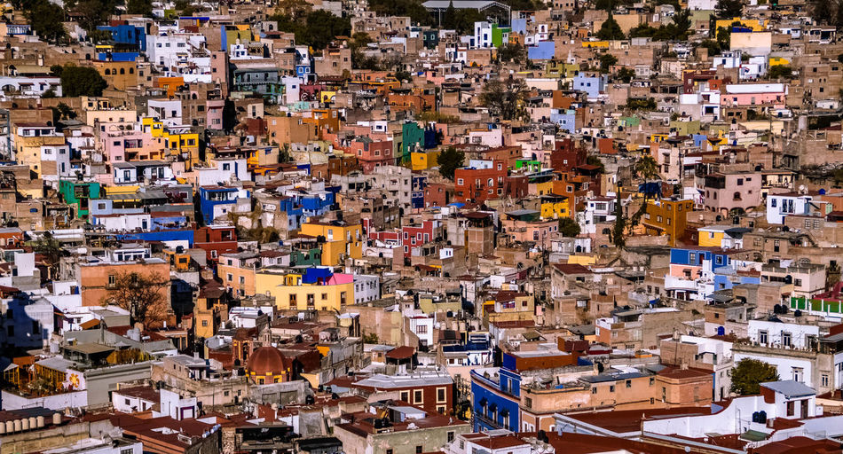 Architecture TOWNSCAPE City Crowded High Angle View Town Mexico Guanajuato Guanajuato, México Little Houses  Building House Roof Residential District Travel Destinations Cityscape Colored Background Background Old Town