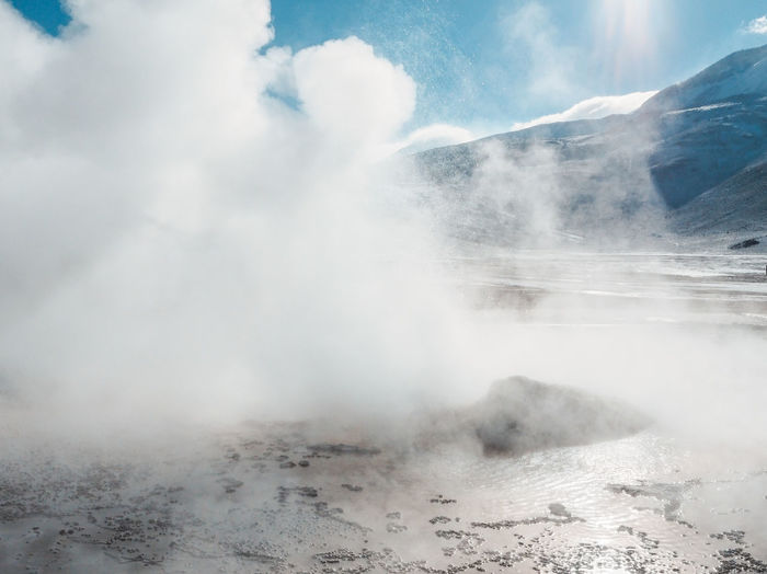 Snow in the desert Desert Beauty In Nature Cloud - Sky Day Environment Geology Geysers Geysersdeltatio Landscape Mountain Nature No People Non-urban Scene Outdoors Physical Geography Power In Nature Scenics - Nature Smoke - Physical Structure