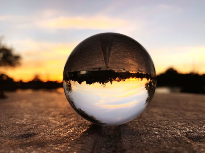 """""""Laughter is day, and sobriety is night; a smile is the twilight that hovers gently between both, more bewitching than either."""" ~ Henry Ward Beecher🍁🍂 Twilight Sky Lensball Autumn Lake Elizabeth Fremont Sunset Sky Sphere Ball Nature Close-up"""
