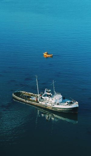 Day High Angle View Mode Of Transport Nature Nautical Vessel No People Outdoors Sailing Sea Sunken Transportation Water