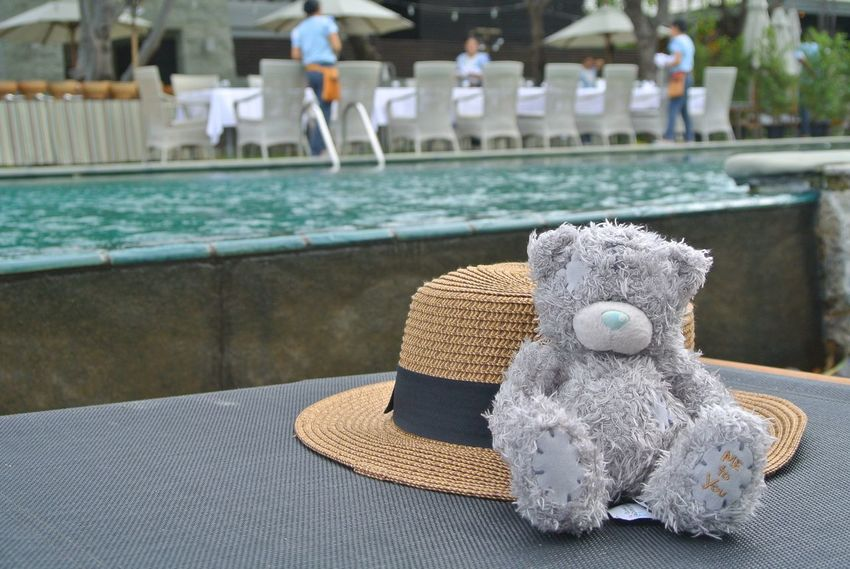 Close-up Commercial Dock Day Focus On Foreground Hat Hobbies Man Made Object No People Outdoor Photography Outdoors Pool Relaxing Sea Teddy Bears Teddybear Tied Knot Tranquility