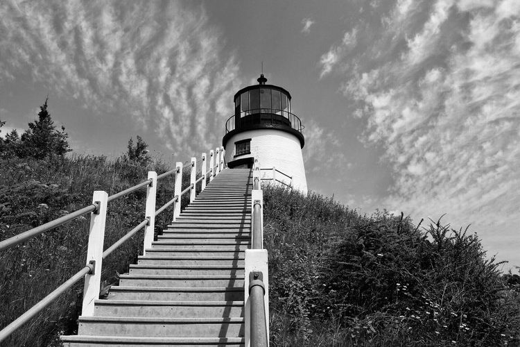 Black And White Friday Railing Sky Day Cloud - Sky Steps No People Low Angle View Built Structure Outdoors Nature Tree Architecture Lighthouse Water Tower - Storage Tank Beauty In Nature