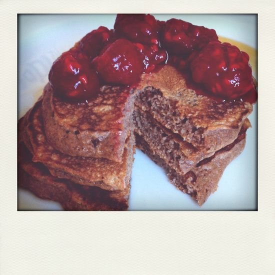 homemade wholemeal chocolate banana protein pancakes with raspberries ?