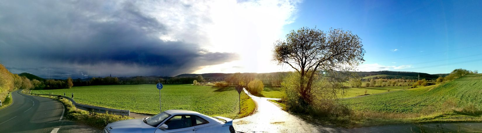 Grass Sky Nature Cloud - Sky Tree Outdoors No People Beauty In Nature Day Car Alfa Romeo Gtv Nature Tree