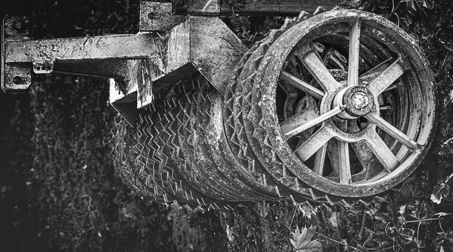 Harrow in black and white. Agriculture Machinery Black And White Black And White Friday Close-up Day Harrow No People Nusshain 11 17 Outdoors Water Wheel