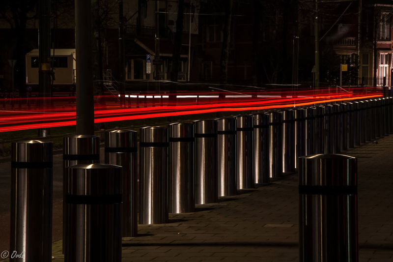 Late night exposure trilling lights In A Row Longexposure Metal Modern Night Street Trail Lights