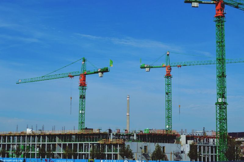 View Of Cranes At Construction Site